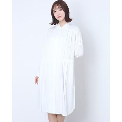 リネーム Rename ウエストギャザーデザインシャツワンピース (ホワイト)
