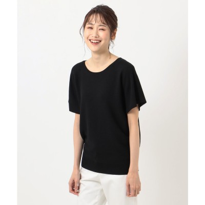 any FAM 【洗える】ウォッシャブルガーターニットTシャツ (ブラック系)