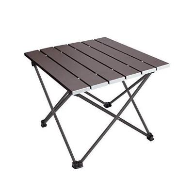 ロールテーブル キャンプ用品 Linkax アルミ製 アウトドアテーブル 耐荷重30kg 専用収納袋付き (折畳テーブル) (ダークブラウン)