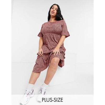 ユアーズ レディース ワンピース トップス Yours ruffle sleeve midi smock dress in pink animal print