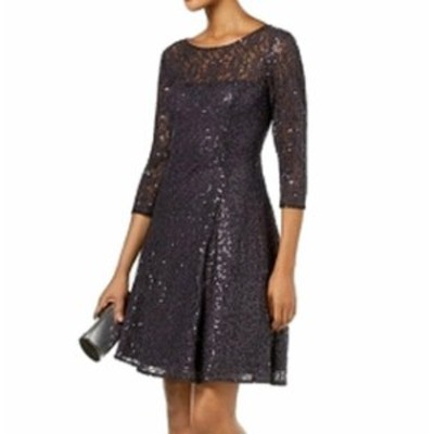 Sequin  ファッション ドレス SLNY NEW Gray Womens Size 16 Sequin Lace Fit N Flare A-Line Dress