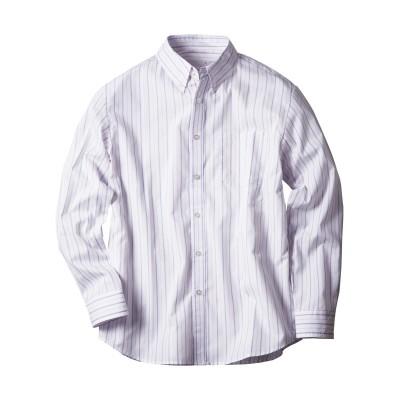 おなかゆったり形態安定ビジネスカジュアルボタンダウン長袖シャツ(ストライプ) (ワイシャツ)Shirts,