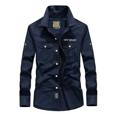 ミリタリーシャツ 長袖シャツ メンズ シャツ ロゴ 綿100