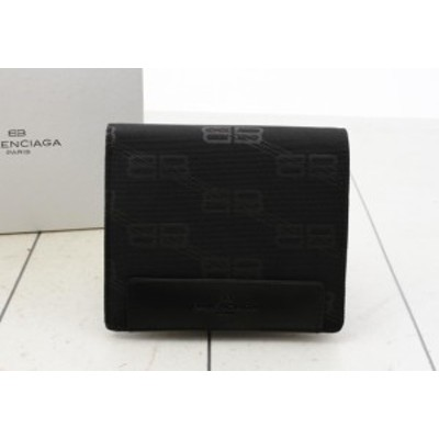 即日発送 バレンシアガ 二つ折り財布 ロゴプリント 色:BLACK-ブラック