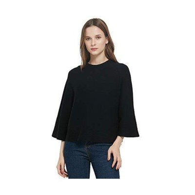 GLOSTORY Womens Long Sleeve Cropped Pullover Sweater Cape Tops 7689 (XL,Bla