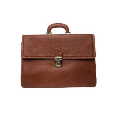 I Medici Lorenzo Italian Triple Compartment Briefcase, Business Bag in Matte-Brown【並行輸入品】
