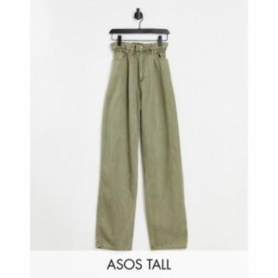 エイソス ASOS Tall レディース ジーンズ・デニム ボトムス・パンツ Tall High Rise Relaxed Dad Jeans With Paper Bag Waist In Khaki