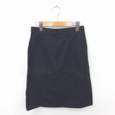 【中古】アーバンリサーチ URBAN RESEARCH スカート タイト ひざ丈 無地 シンプル 綿 コットン F 紺 ネイビー /TT2