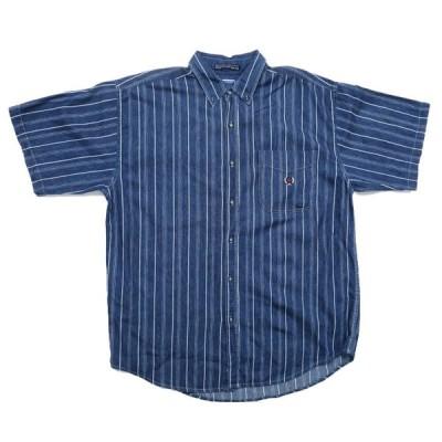 〜90年代 COLISEUM JEANS デニム 半袖 ボタンダウンシャツ ストライプ柄 サイズ表記:XXL
