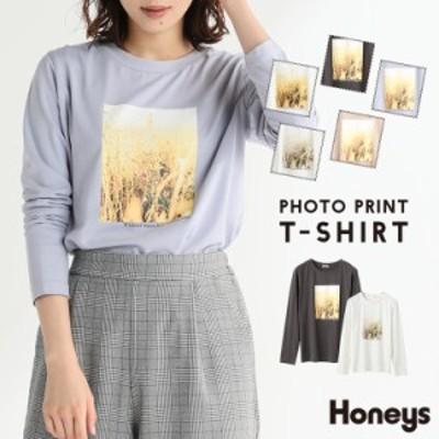 Tシャツ ロンt カットソー レディース 長袖 綿100% プリント おしゃれ 秋 冬 SALE Honeys ハニーズ フォトプリントTシャツ