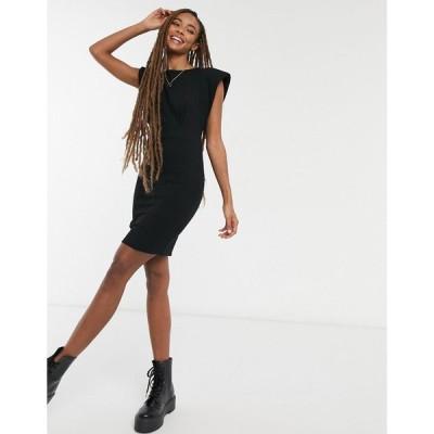 エイソス ミニドレス レディース ASOS DESIGN mini dress with shoulder pads and seam detail in black エイソス ASOS ブラック 黒