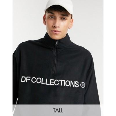 エイソス メンズ シャツ トップス ASOS Dark Future Tall oversized polar fleece sweatshirt with half zip in black Black