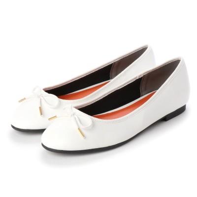 マシュガール masyugirl 【4E/幅広ゆったり・大きいサイズの靴】 シンプルリボンバレエシューズ (ホワイト) SOROTTO