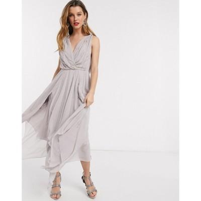 エイソス ミディドレス レディース ASOS DESIGN drape bodice midaxi dress embellished エイソス ASOS