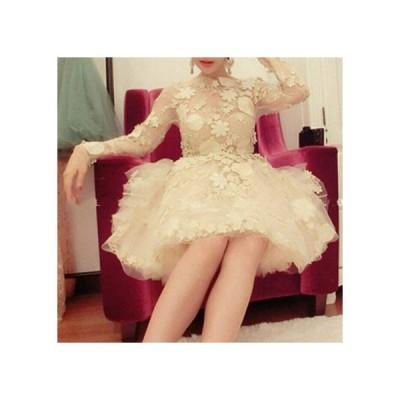 プリンセスチュチュフレアドレス 長袖 レースフラワー刺繍