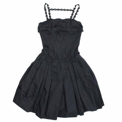 (中古)ルイ・ヴィトン バックリボン ビーズストラップドレス ブラック 34