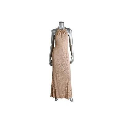 ドレス 女性  アドリアナパぺル Adrianna Papell 5933 レディース Tan Lace Halter Evening ドレス Gown 12