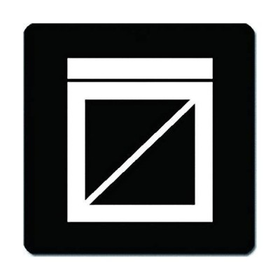 家紋 捺印マット 枡に枡掻紋 11cm x 11cm KN11-3117W 白紋
