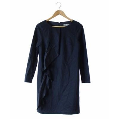 【中古】ビアッジョブルー Viaggio Blu ワンピース フレア 長袖 ひざ丈 紺 2 /DE31 レディース