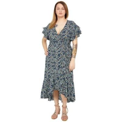 マックススタジオ レディース ワンピース トップス Short Sleeve Woven Wrap Dress