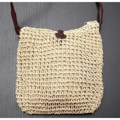 カゴバッグ透かし編み内ポケット付ママバッグナチュラルカラーハンドバッグ麻とラタンの7重編みバックレディース