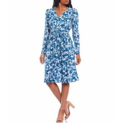 カルバンクライン レディース ワンピース トップス Floral Print Long Sleeve V-Neck Tie Waist Button Down Dress Serene White