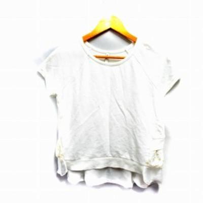 【中古】スピック&スパン Spick&Span カットソー 半袖 クルーネック 刺繍 フリル ストレッチ 白 ホワイト /NM レディース