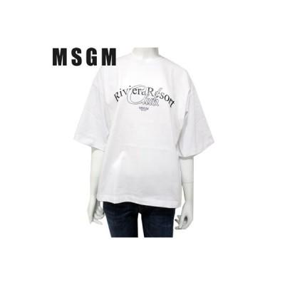 エムエスジーエム MSGM レディース トップス Tシャツ 半袖 ロゴ 袖口ワイド・MSGMフロントプリント付きカットソー ホワイト MDM109 298 01 (R19400) 19S