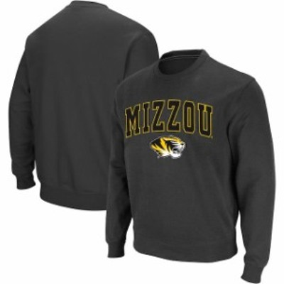 Colosseum コロセウム スポーツ用品  Colosseum Missouri Tigers Charcoal Arch & Logo Crew Neck Sweatshirt
