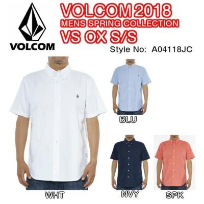 VOLCOM ボルコム VS OX S/S A04118JC コットン素材 オックスフォードシャツ ボタンダウン STONE刺繍 半袖 メンズ 2018 SPRINGモデル 正規品