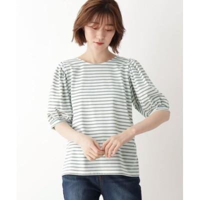 (SHOO・LA・RUE DRESKIP/シューラルー ドレスキップ)ひんやり袖ギャザーTシャツ/レディース ライトグレー(311)