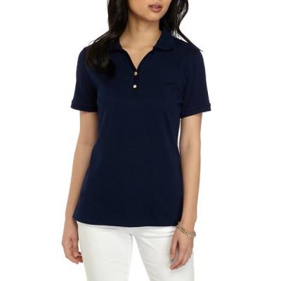 キムロジャーズ カットソー トップス レディース Petite Short Sleeve Polo Shirt Navy