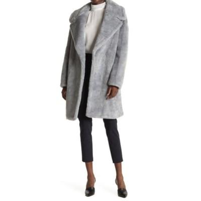 ダナキャラン レディース ジャケット&ブルゾン アウター Faux Fur Teddy Coat STEEL