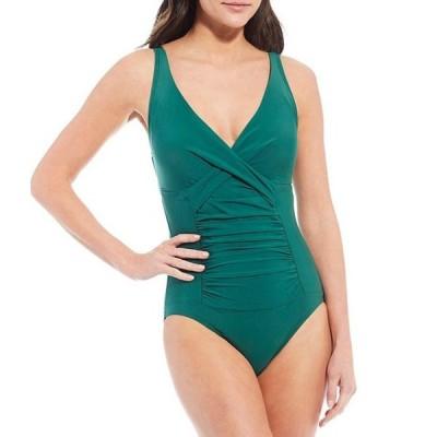 アレックスマリー レディース ワンピース トップス Solid Twist Front Tummy Control Shirred One-Piece Swimsuit