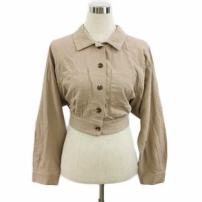 【中古】ヘザー シャツ ジャケット ショート スタンダード 薄手 リボン 無地 長袖 F 茶 ブラウン 〇 レディース