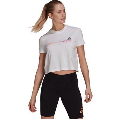 アディダス レディース Tシャツ トップス Gradient Logo Cropped T-Shirt