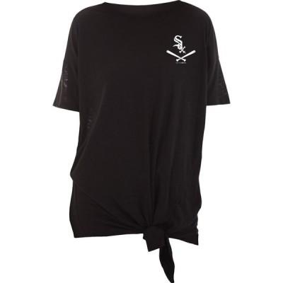 ニューエラ New Era レディース Tシャツ トップス Chicago White Sox Black Slub Side Tie T-Shirt