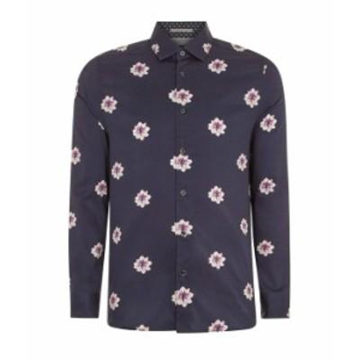 テッドベーカー メンズ シャツ トップス Waight Long Sleeve Floral Print Shirt Navy