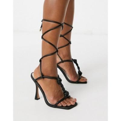 エイソス レディース ヒール シューズ ASOS DESIGN Napoleon twisted t-bar heeled sandals in black Black