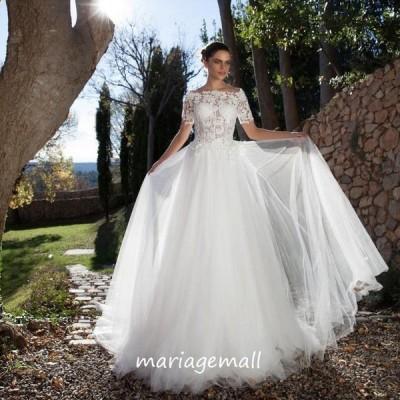 ウェディングドレス 半袖 aラインドレス ウエディングドレス 二次会 花嫁 パーティードレス 披露宴 ブライダル 結婚式 ロングドレス 演奏会 シンプルドレス