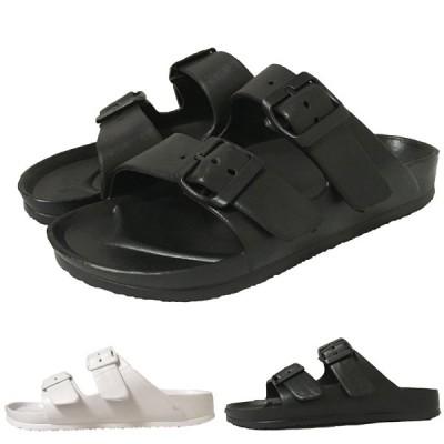レディース サンダル 黒 白 ブラック ホワイト 軽量 2本ベルト 無地 シンプル 婦人 靴 non 0915