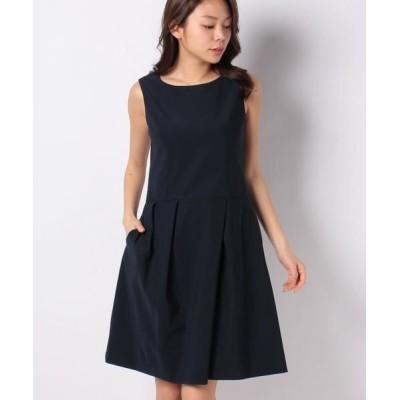 MISS J/ミス ジェイ タフタジャージー タックドレス ネイビー 38