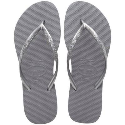 ハワイアナス レディース サンダル シューズ Slim Metallic Flip-Flops Steel Grey