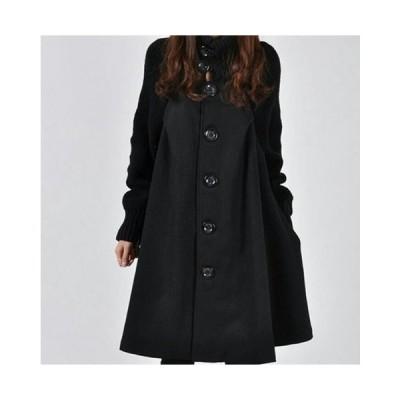 ウィンター レディース ウール コート 海外ブランド CUHAKCI ルース ウォーム シングルブレスト オーバーコート 大人デザイン ブラック