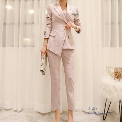 CBAFU 作業服 OL パンツスーツ女性 2 点セットシングルボタン不規則なスーツコートブレザージャケット鉛筆パンツセット女性 セット D402 グループ上 レディ