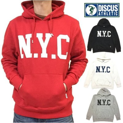 売り切り 新品 DISCUS ATHLETIC DISCUS ディスカス NYC ロゴ プリント パーカー メンズ レディース ユニセックス 男女兼用 プルパーカー