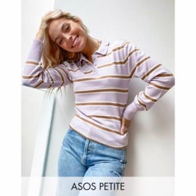エイソス ASOS Petite レディース ニット・セーター トップス Petite Knitted Polo Jumper In Lilac Stripe ライラック