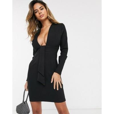 ベスパー ミニドレス レディース Vesper deep plunge neck mini dress in black エイソス ASOS ブラック 黒