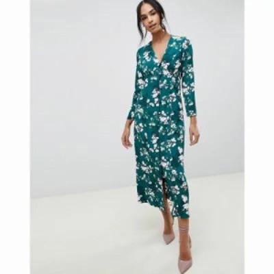 エイソス ワンピース button through maxi dress in floral print Multi