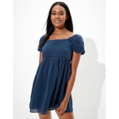 アメリカンイーグル レディース ワンピース トップス AE Puff-Sleeve Babydoll Mini Dress Midnight Blue